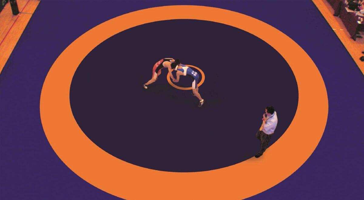 Ковер борцовский трехцветный с разметкой United World Wrestling